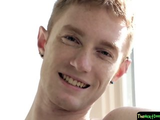 Ginger twink tugs on his cock solo