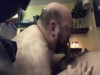 Older chub bear sucking and eating cum.