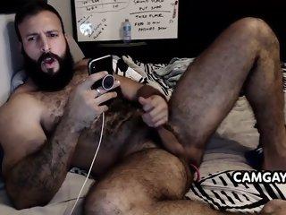 Old Bear Man Stroking his Cock